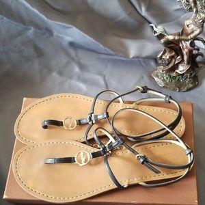 Black leather Coach Sandals